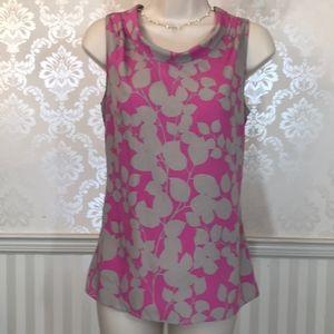 Banana Republic Pink & Grey Floral Sleeveless Top
